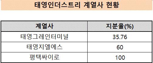 태영인더스트리 계열사 현황