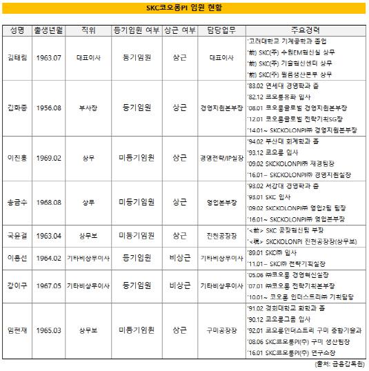 SKC코오롱PI 임원현황