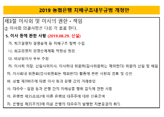 2019 농협은행 지배구조규범 개정안