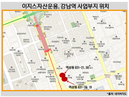 이지스자산운용, 강남역 사업부지 위치