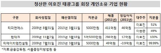 청산한 이호진 태광그룹 회장 개인소유 기업 현황