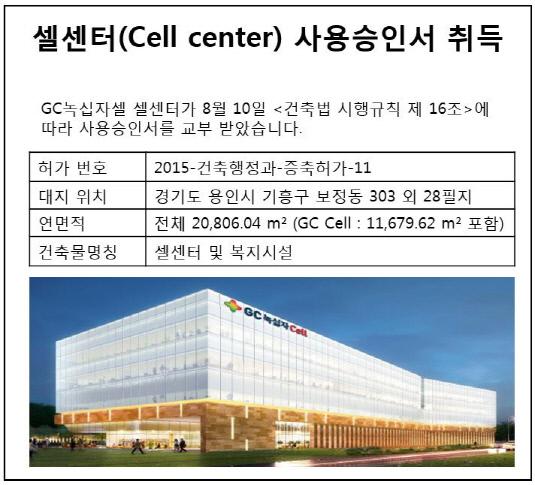 녹십자 셀센터(Cell center) 사용승인서 취득